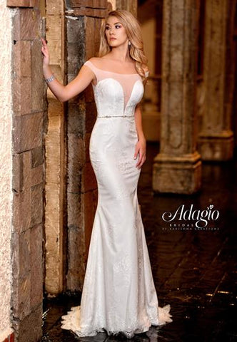 Adagio Bridal W9317 size 4 Ivory sheer off the shoulder straps bridal gown