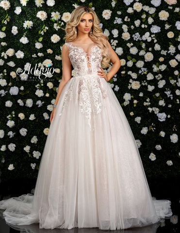 Adagio Bridal W9320 Long Wedding Dress Tulle Ballgown Applique Plunging Neckline