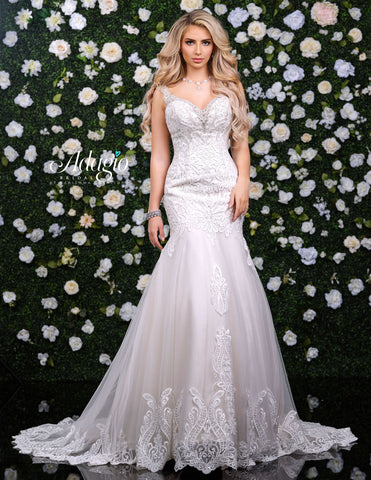 Adagio Bridal W9323 V neckline with beaded applique lace fit and flare mermaid wedding gown bridal dress with train  Available colors:  Ivory/Champagne, Solid Ivory, Solid White, White/Champagne  Available sizes:  00-30