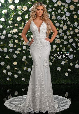 Adagio Bridal W 9338 plunging neckline lace wedding gown
