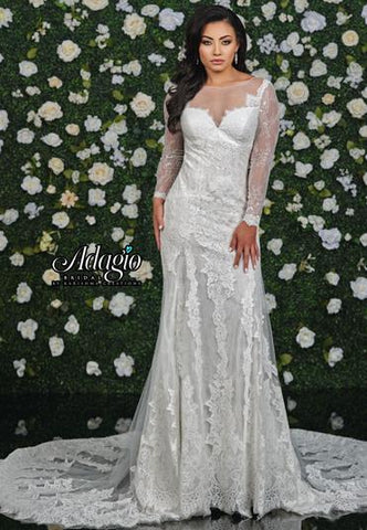 Adagio Bridal W 9339 sheer lace neckline and sleeves wedding gown