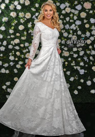 Adagio Bridal W 9343 long lace sleeves modest v neck wedding gown