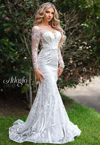 Adagio Bridal W 9344 Long Sheer Lace Sleeves Fitted Lace Wedding Gown Glass Slipper Formals,Beach Wedding Wedding Dresses Simple