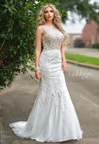 Adagio Bridal W 9347 sheer back lace mermaid wedding gown