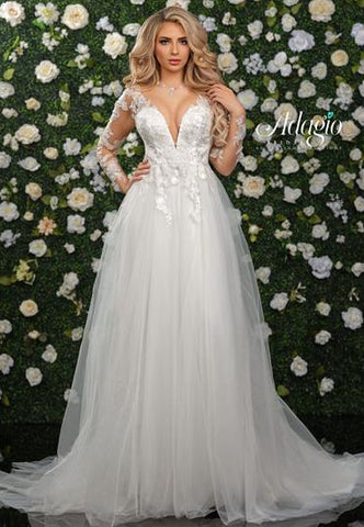 Adagio Bridal W9348 plunging neckline with beaded applique lace sheer long sleeves and tulle A line ball gown wedding dress bridal gown