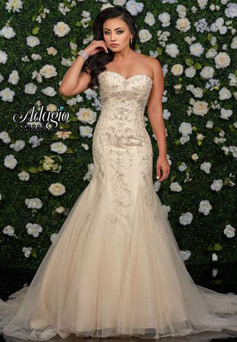 Adagio Bridal W 9349 sweetheart neckline lace mermaid wedding gown