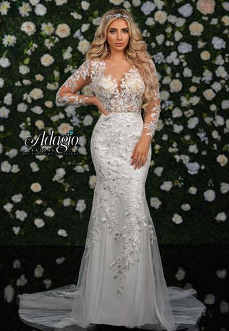 Adagio Bridal W9351 sheer lace long sleeves sheer lace bodice and circle cutout back long lace mermaid wedding gown bridal dress
