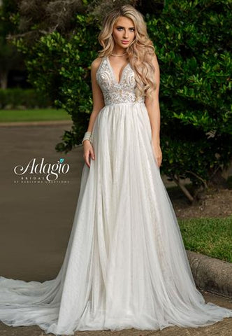 Adagio Bridal W 9352 lace bodice A line wedding gown