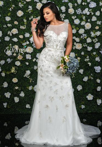 Adagio Bridal W 9352 beaded applique tulle wedding gown