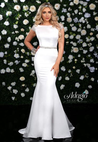 Adagio Bridal W 9354 cap sleeve fitted satin mermaid wedding gown