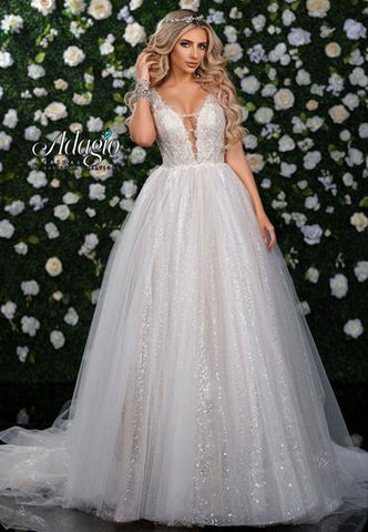 Adagio Bridal W 9355 plunging neckline A line ball gown wedding dress