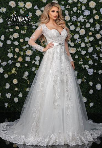 Adagio Bridal W 9356 long lace sleeves lace wedding gown ball gown