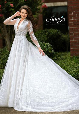Adagio Bridal W 9357 suit collar neckline ball gown wedding dress