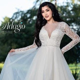 Adagio Bridal W9360 sheer long embellished beaded sleeves with beaded bodice and bridal buttons down the sheer embellished back with a bridal belt beaded on the waist and a full flowy layered skirt with horsehair trim  Colors  Ivory, White  Sizes 00, 0, 2, 4, 6, 8, 10, 12, 14, 16, 18, 20, 22, 24, 26, 28, 30