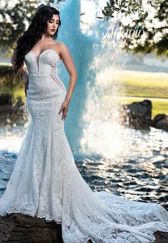 Adagio Bridal W9361 strapless plunging neckline with mesh panel beaded lace mermaid wedding dress bridal gown with sheer side panels and long train Color Ivory  Sizes  00, 0, 2, 4, 6, 8, 10, 12, 14, 16, 18, 20, 22, 24, 26, 28, 30