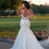 Adagio Bridal W9362 plunging v neckline with sheer panel and sheer lace back fitted mermaid wedding dress bridal gown Colors  Ivory, White  Sizes 00, 0, 2, 4, 6, 8, 10, 12, 14, 16, 18, 20, 22, 24, 26, 28, 30