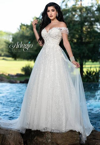 Adagio Bridal W9363 off the shoulder lace wedding dress ball gown with sequined tulle full ball gown skirt and train Colors  Ivory, White  Sizes  00, 0, 2, 4, 6, 8, 10, 12, 14, 16, 18, 20, 22, 24, 26, 28, 30