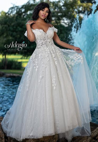 Adagio Bridal W9366 off the shoulder beaded applique lace wedding dress bridal ball gown with train Colors  Ivory  Sizes  00, 0, 2, 4, 6, 8, 10, 12, 14, 16, 18, 20, 22, 24, 26, 28, 30