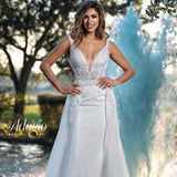 Adagio Bridal W9367 plunging v neckline with mesh panel sheer bodice open back fitted sequin tulle applique wedding dress bridal gown with detachable overskirt  Colors Ivory, White  Sizes  00, 0, 2, 4, 6, 8, 10, 12, 14, 16, 18, 20, 22, 24, 26, 28, 30