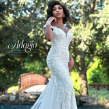 Adagio Bridal W9368 off the shoulder fit and flare beaded lace wedding dress evening gown  Colors Ivory, White  Sizes 00, 0, 2, 4, 6, 8, 10, 12, 14, 16, 18, 20, 22, 24, 26, 28, 30