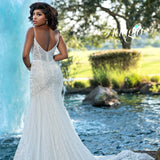Adagio Bridal W9370 plunging v neckline sheer bodice and back long fitted mermaid wedding dress bridal gown with beaded lace that streams down the length of the skirt and train Colors  Ivory  Sizes  00, 0, 2, 4, 6, 8, 10, 12, 14, 16, 18, 20, 22, 24, 26, 28, 30
