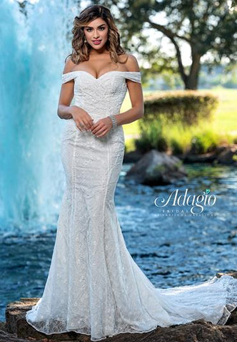 Adagio Bridal W9372 off the shoulder lace mermaid wedding dress bridal gown with ruched bodice and full lace train Colors Ivory, White  Sizes 00, 0, 2, 4, 6, 8, 10, 12, 14, 16, 18, 20, 22, 24, 26, 28, 30