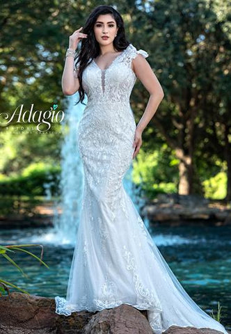 Adagio Bridal W9376 cap sleeves plunging neckline beaded sequin applique fitted mermaid wedding dress bridal gown Colors Ivory  Sizes  00, 0, 2, 4, 6, 8, 10, 12, 14, 16, 18, 20, 22, 24, 26, 28, 30