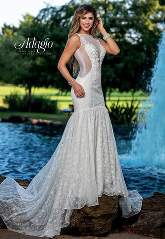 Adagio Bridal W9377 3D floral appliques on sheer bodice with a sheer back that has bridal buttons down the length of the back and mermaid lace wedding dress bridal gown Colors  Ivory, White  Sizes  00, 0, 2, 4, 6, 8, 10, 12, 14, 16, 18, 20, 22, 24, 26, 28, 30