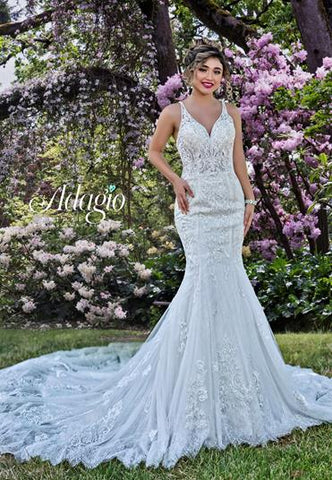 Adagio Bridal W9381 beaded lace mermaid bridal gown with sheer embellished lace straps a long lace trimmed train  Colors  Ivory  Sizes  00, 0, 2, 4, 6, 8, 10, 12, 14, 16, 18, 20, 22, 24, 26, 28, 30