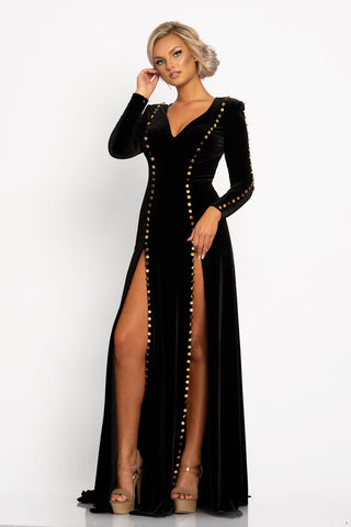 Johnathan Kayne 2234 This is a long sleeved stretch velvet evening gown with gold button details.  This prom dress has a sweetheart neckline and high double slits on the long skirt. Color Black Gold  Sizes  00, 0, 2, 4, 6, 8, 10, 12, 14, 16