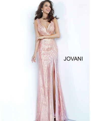 Jovani 02320 v neckline embellished metallic fitted prom dress with slit
