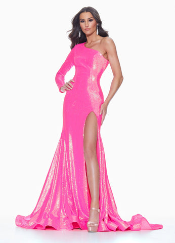 Ashley Lauren 11026  This dress is perfection! This fully sequin evening gown features a one shoulder neckline with one sleeve. The prom and pageant dress is complete with a full train and high left leg slit. The look is finished with an exposed zipper.  Colors Neon Pink, AB Ivory, Neon, Orange  Sizes  0, 2, 4, 6, 8, 10, 12, 14, 16,  One Shoulder Slit Train Long Sleeve Sequin