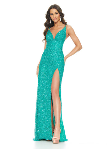 Ashley Lauren 11037 Fall in love with this hand beaded sequins prom evening gown featuring adjustable spaghetti straps, V-Neckline and a wide waist band that's sure to accentuate your curves. The pageant dress is finished with a lace-up back and left leg slit.  Colors AB Ivory, Rose Gold, Jade, Sky, Ruby Red  Sizes  0, 2, 4, 6, 8, 10, 12, 14, 16   Fully Hand Beaded Lace Up Back Spaghetti Straps Slit V-Neckline