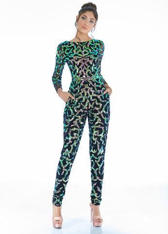 Ashley Lauren 1731 long sleeve Sequin beaded Prom jumpsuit 2020 Pockets