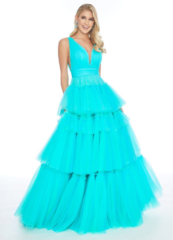 Ashley Lauren 1749 layered tulle skirt prom dress Formal Gown Pageant V Neck 2020
