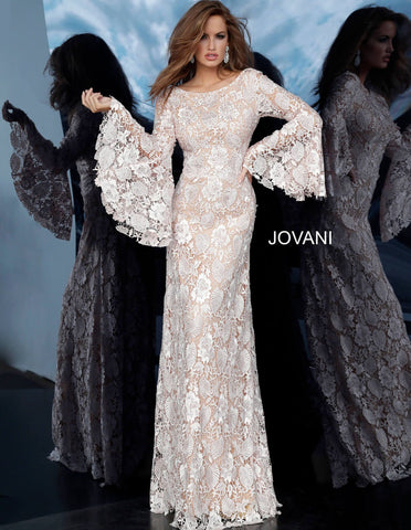 Jovani 02908 boat neckline lace bell sleeves formal dress evening gown lace evening dress with a nude underlay featuring a long bell sleeve bodice with a boat neckline and v-shaped back with zipper closure. Floor-length fitted skirt. Great mother of the Bride / Groom Dress  Available colors:  Blush, Burgundy, Navy  Available sizes:  00-24