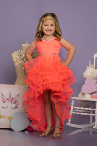 Sugar Kayne C135 by Johnathan Kayne embellished v neckline that flows around the shoulders into an open back corset with a high low ruffle skirt.  Available colors:  Hot Coral  Available sizes:  2, 4, 6, 8, 10, 12, 14, 16