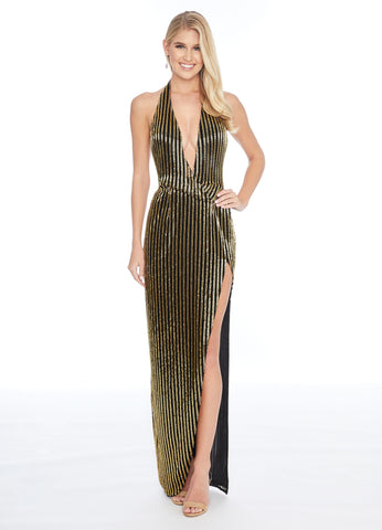Ashley Lauren 1813 plunging neckline beaded evening gown with high slit