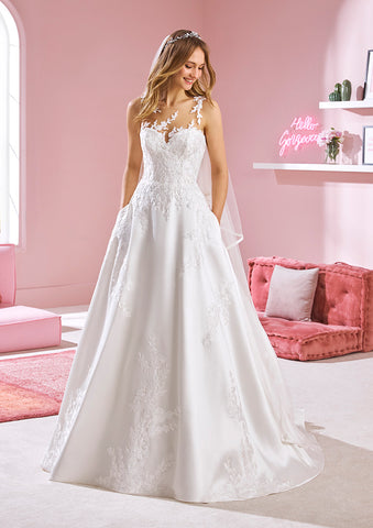 White One ZUZU Bridal Pronovias Wedding Dress A Line Sheer Illusion Lace Neckline