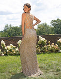 Primavera Couture 3257 V Neck Ombre Beaded Prom Dress Backless Formal Gown