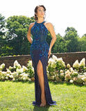 Primavera Couture 3242 Navy Size 12 Long Beaded Prom Dress Pageant Gown