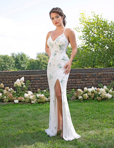 Primavera Couture 3258 Long Butterfly Beaded Formal Evening Prom Dress