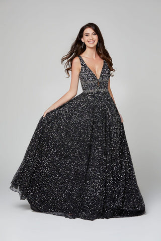 Primavera Couture 3421 fully beaded A line prom dress