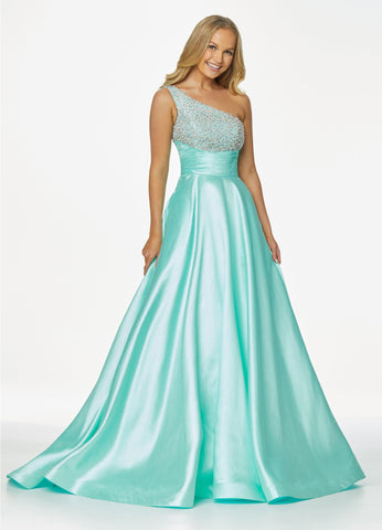 Ashley Lauren 11012 Sparkle in this one shoulder prom dress ball gown with beaded bustier. The bustier of this Pageant Gown is encrusted with pearls and crystals that give way to a pleated belt sure to accentuate your figure. The ball gown skirt is complete with pockets.  Colors  Lilac, Ivory, Aqua  Sizes 0, 2, 4, 6, 8, 10, 12, 14, 16,  One Shoulder Beaded Bustier A-Line Pockets