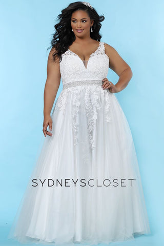 Sydney's Closet SC 5230 Kelly Anne Be a beautiful curvy bride in a floral lace embroidered wedding dress in simple, modern A-line design. Magnificent hand beaded belt accentuates your curves. Deep V-neck adds a modern design element. Lace appliques with clear sequins create just a hint of sparkle in the bodice and tulle skirt. Designer Sydney's Closet Style SC5230 for full figure brides sizes 14 to 40.