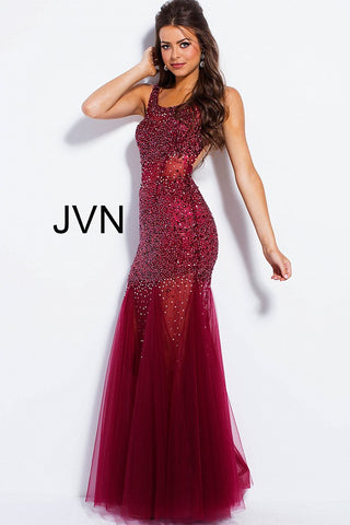 JVN by Jovani 55771 beaded tulle prom dress size 0 wine
