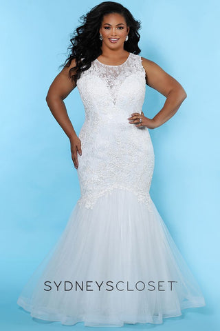 Sydney's Closet SC 5231 Tiana This plus sized wedding dress has a high sheer lace neckline with a sleeveless design.  The back of this mermaid bridal gown has a sexy cutout.  The tulle mermaid skirt has a sweeping train.    SC5231