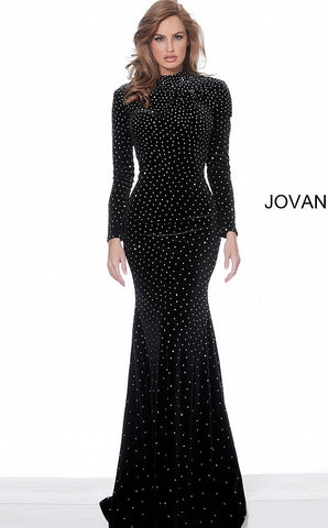Jovani 1422 long sleeve embellished velvet prom dress evening gown