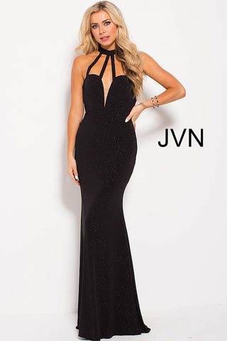 Jovani JVN 60600 Size 6 glitter jersey Sexy Black Formal Dress Backless Strappy