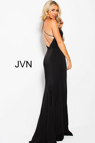 2f723ba4f52 ... JVN by Jovani 55642 plunging neckline open back fitted prom dress-